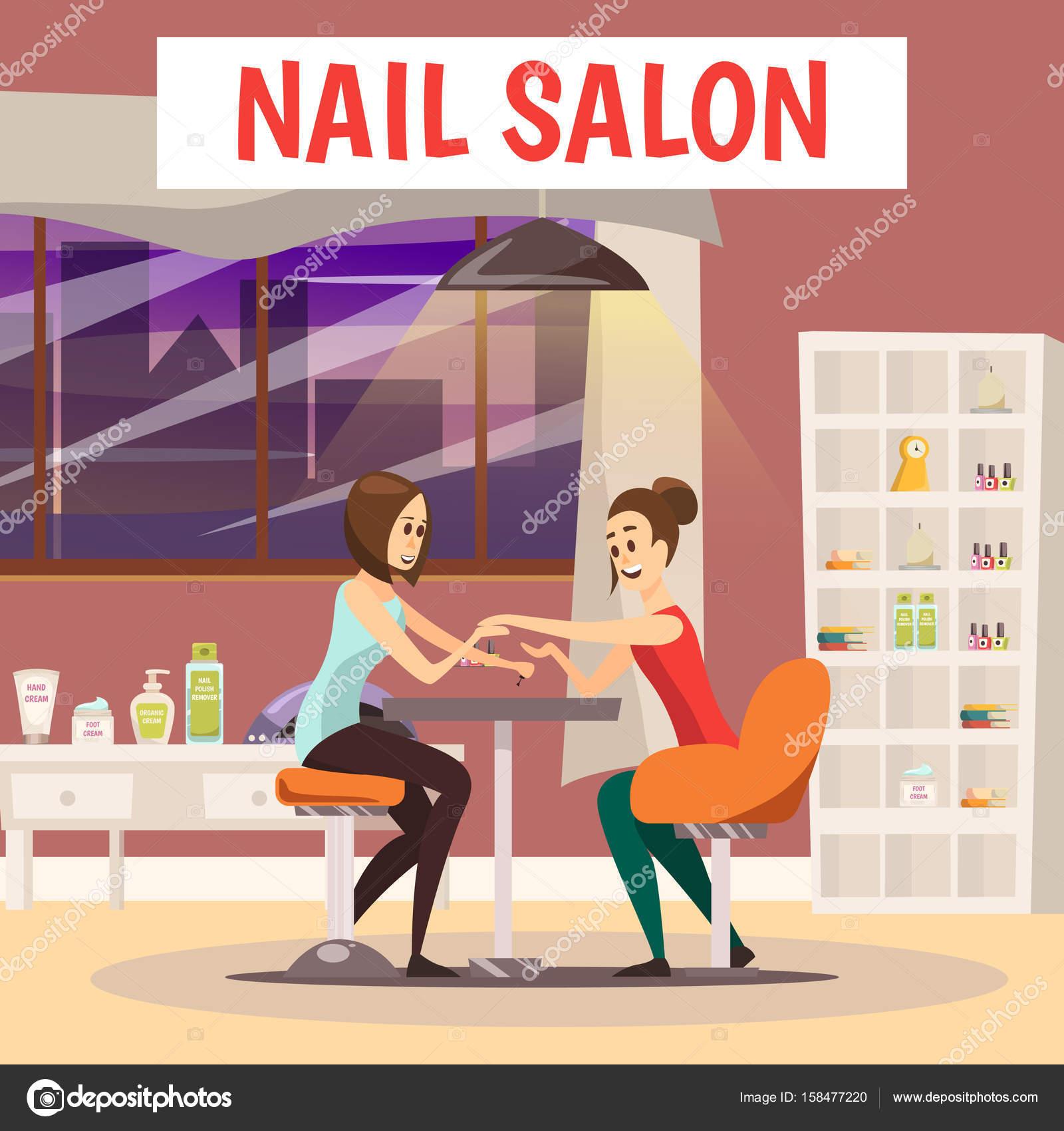 Nail Salon Background — Stock Vector © macrovector #158477220