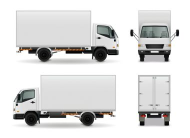 Lorry with blank surface realistic advertising mockup side view, front and rear on white background vector illustration stock vector