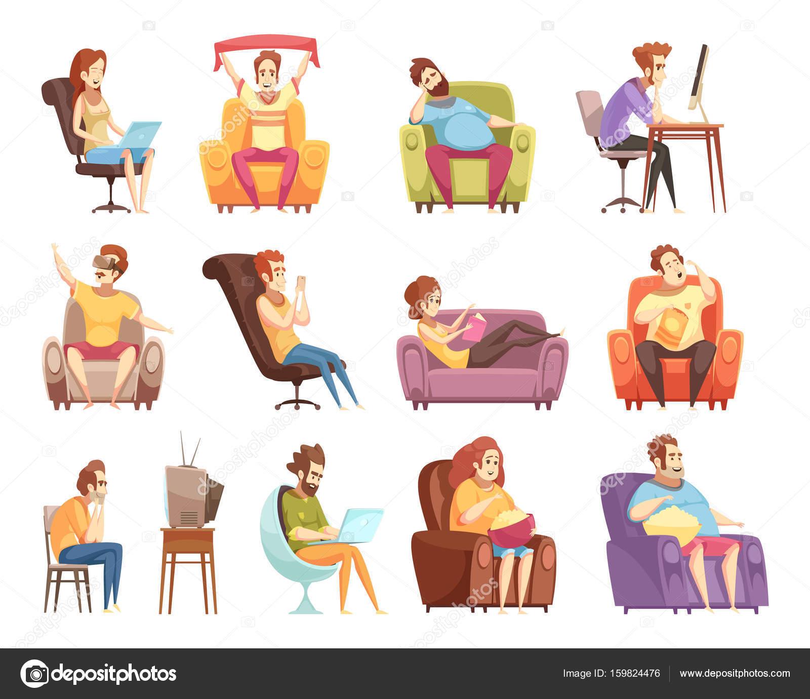 Sedentary Lifestyle: Sedentary Lifestyle Retro Cartoon Icons Set