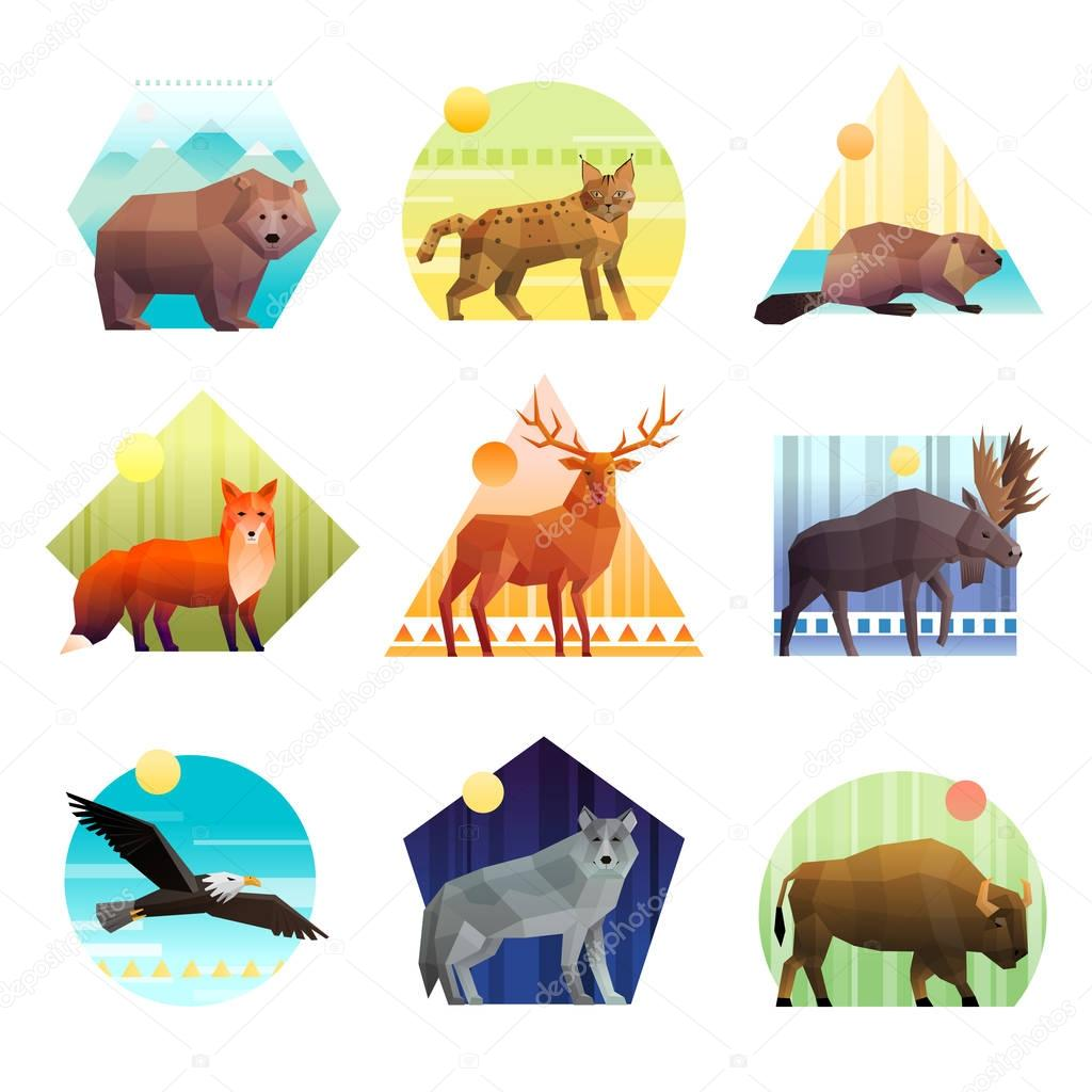 Animals Polygonal Emblem Set