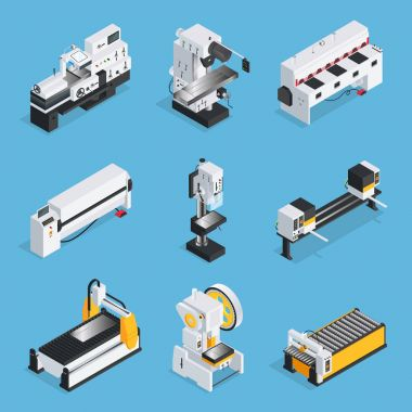 Metalworking Machines Isometric Set
