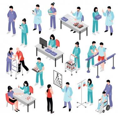 Doctor Nurse Hospital Isometric Set