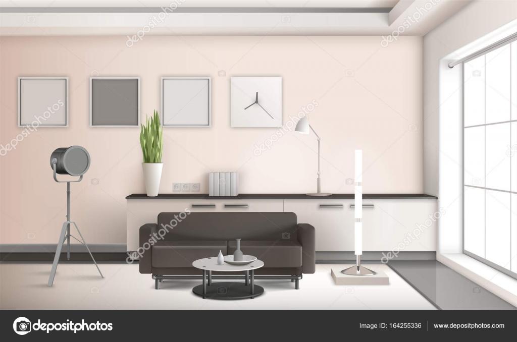 Realistische woonkamer interieur 3D-ontwerp — Stockvector ...