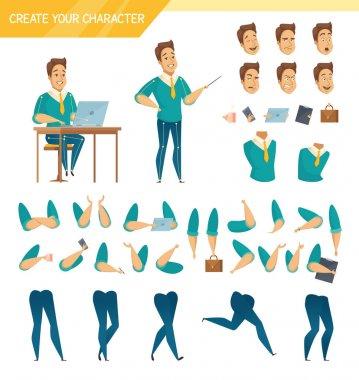 Office Worker Constructor Cartoon Set