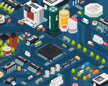 Colored semiconductor electronic components isometric city concept with different elements combined in city vector illustration
