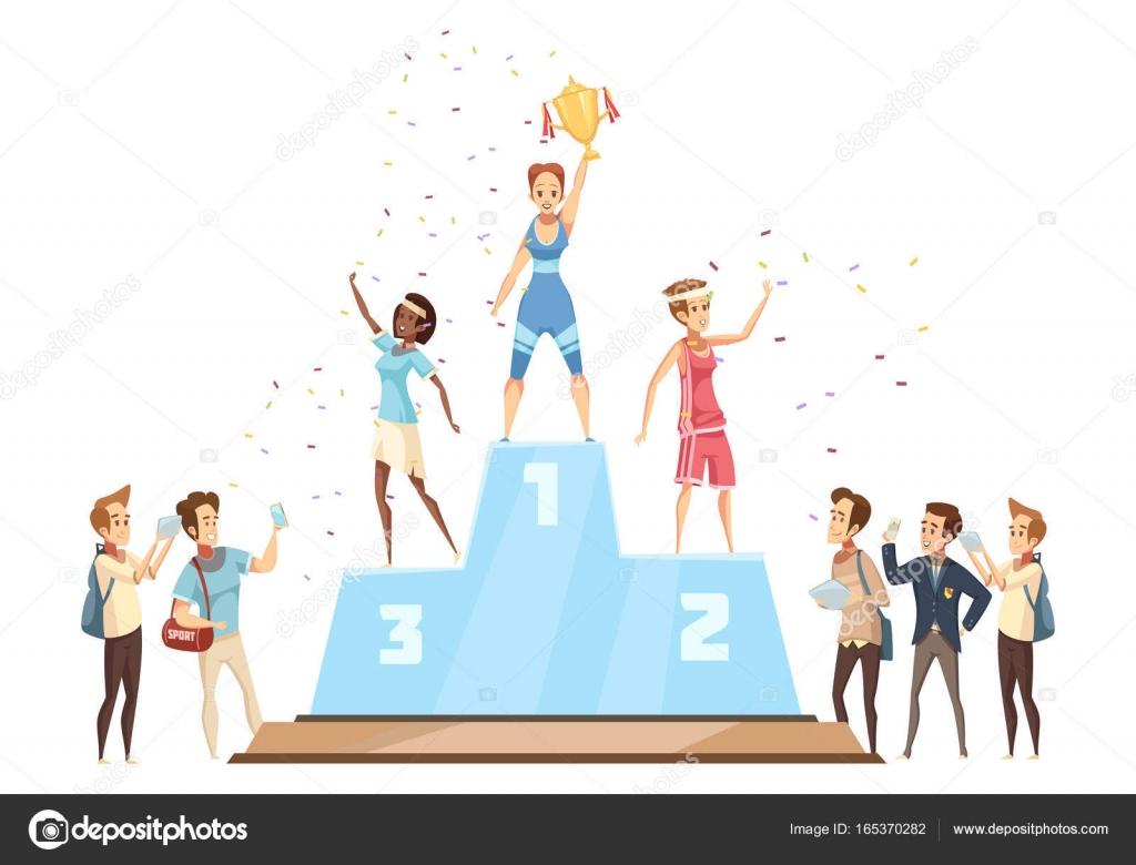 Gagnants sur la composition du podium image vectorielle - Dessin podium ...