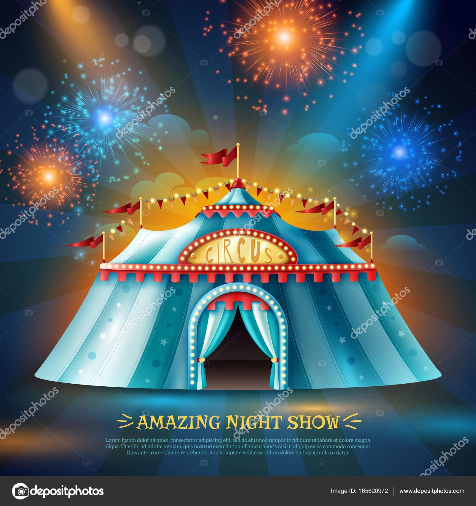 20250ebcab Tenda de circo viagens à noite em feixes de luz coloridas e ilustração em  vetor cartaz fundo azul escuro de fogo de artifício — Vetor por macrovector