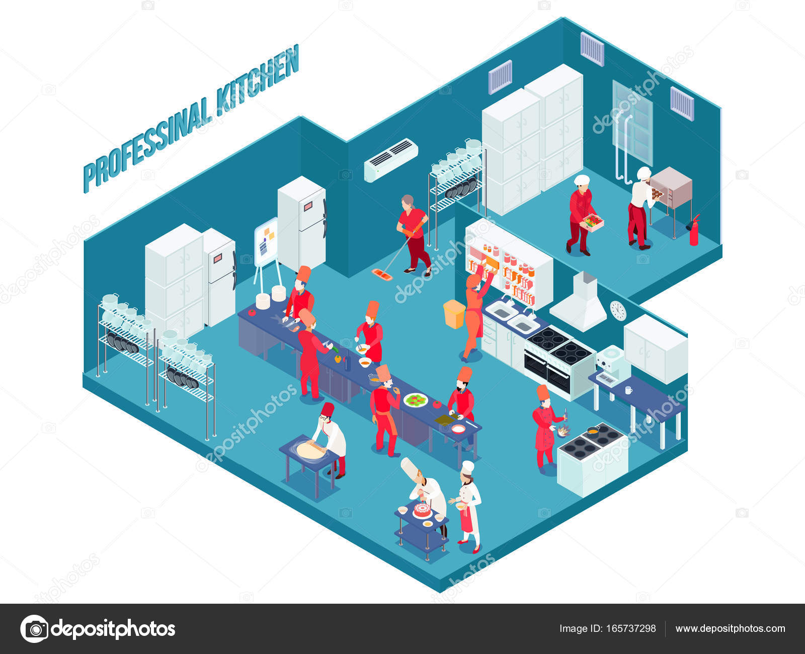 Profi Küche In Blau Mit Weiß Grau Möbel, Geräte, Geschirr, Personal In  Einheitliche Isometrische Vektor Illustration U2014 Vektor Von Macrovector