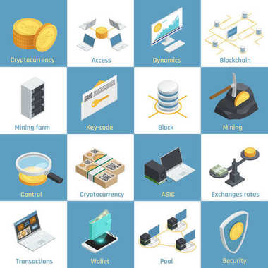 Cryptocurrency Isometric Icons