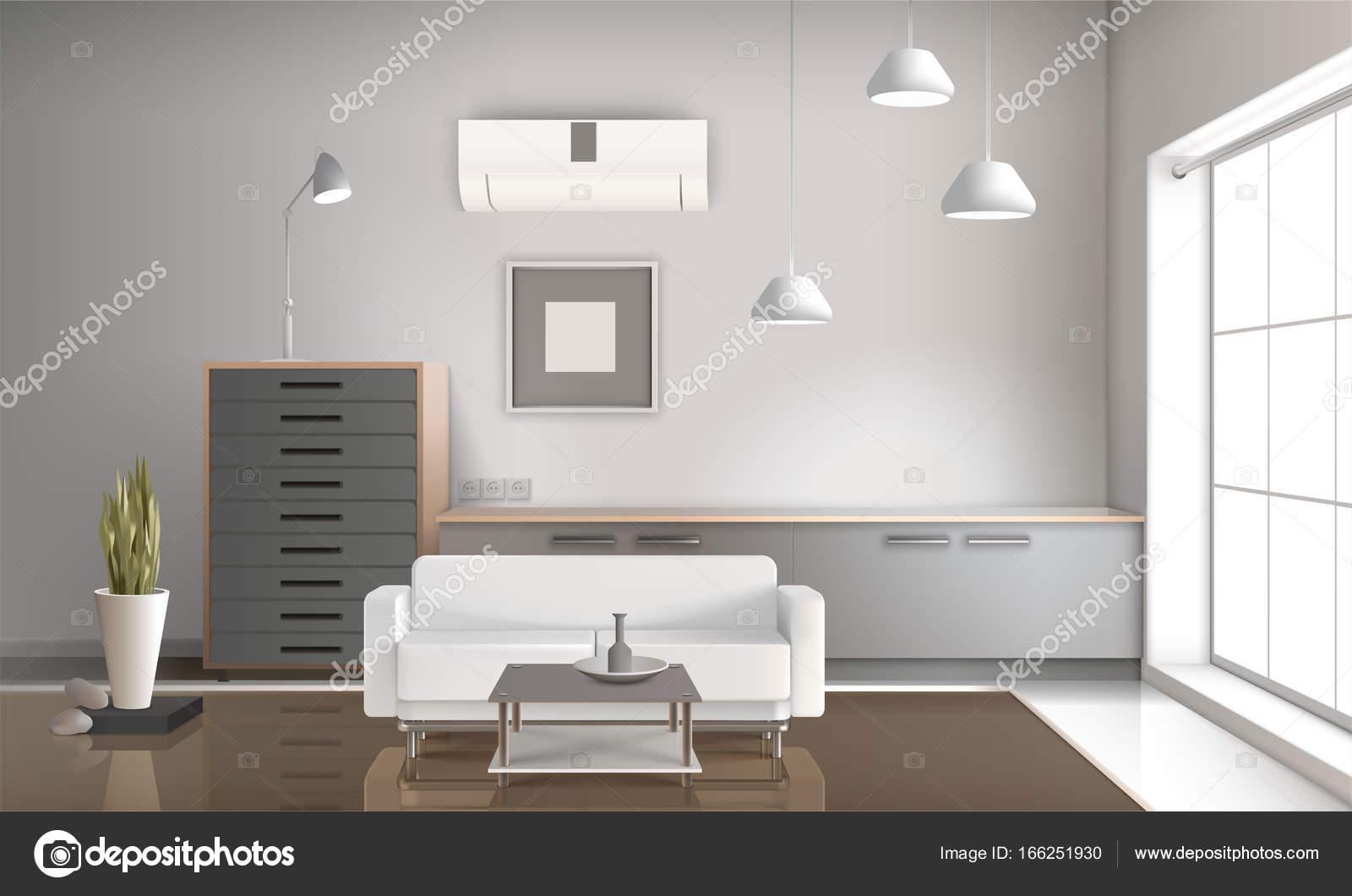 3d Woonkamer Ontwerpen : Realistische woonkamer interieur 3d ontwerp u2014 stockvector