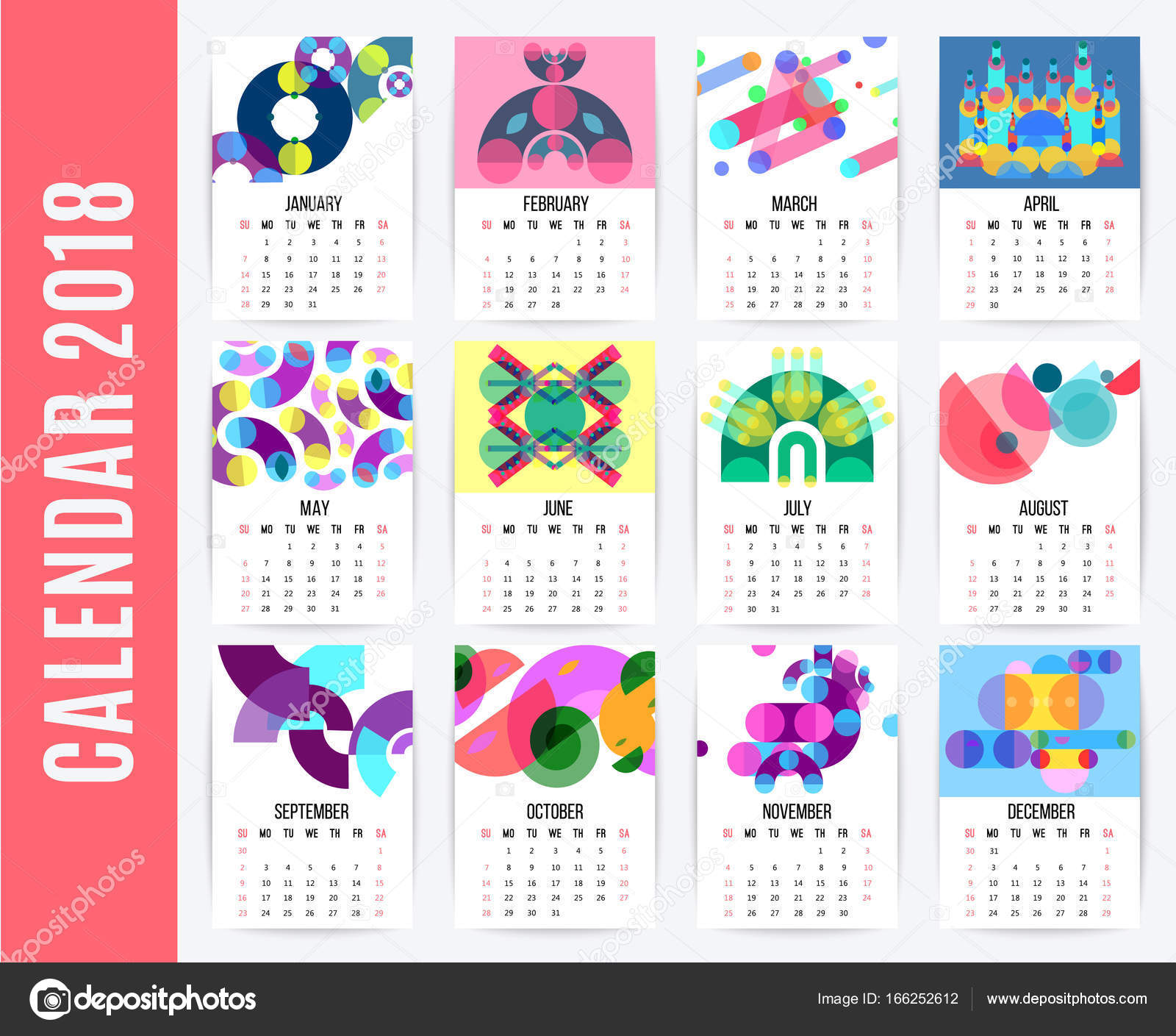 Calendar Typography Yamaha : 월별 달력 디자인 모음 — 스톡 벡터 macrovector