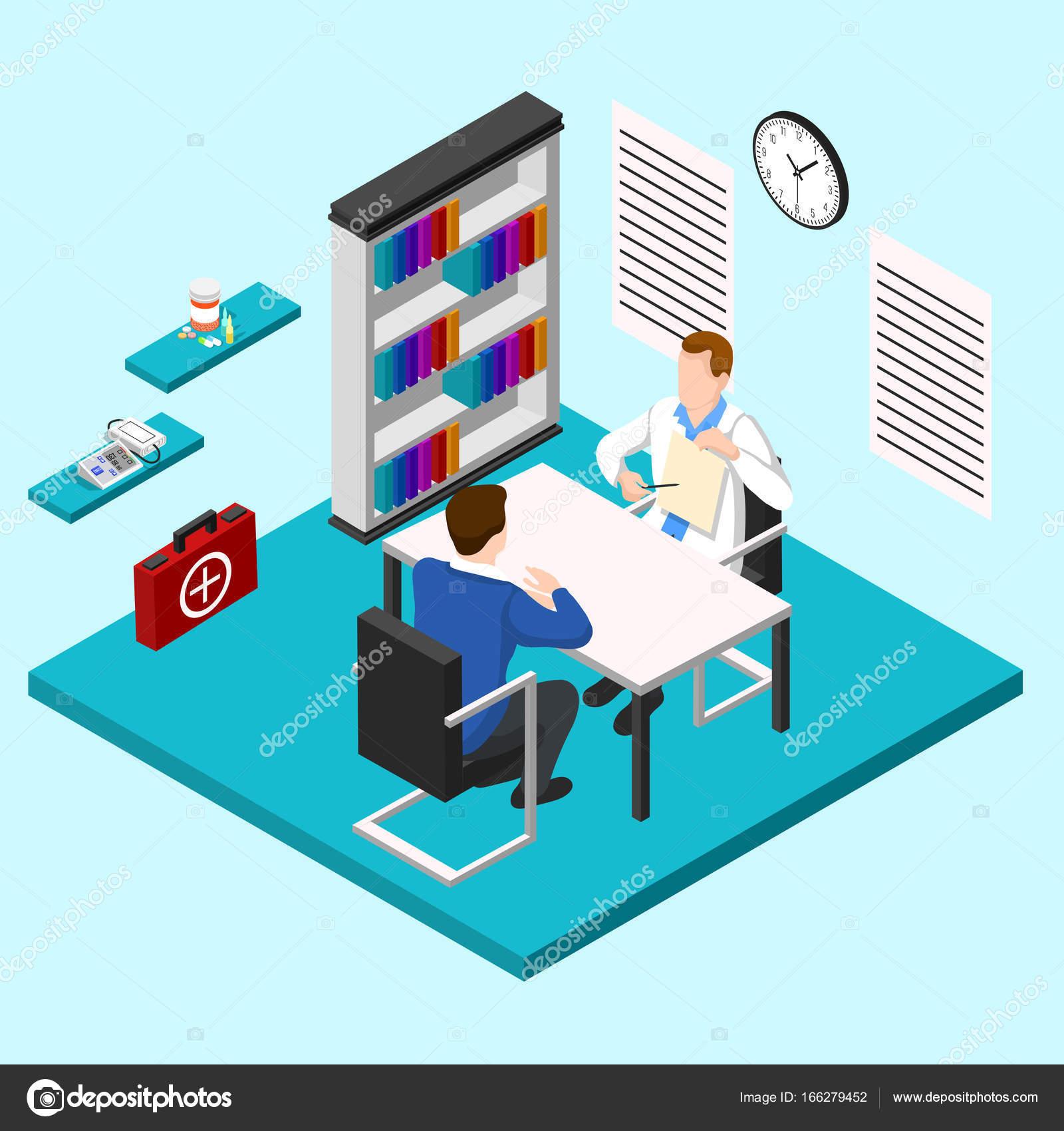 Doctors Room Isometric Composition Stock Vector macrovector
