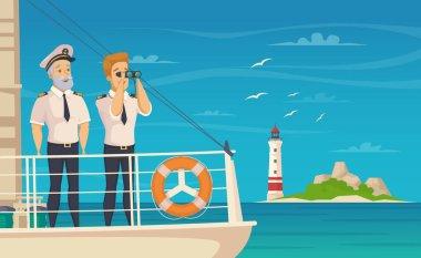 Ship Crew Captain Cartoon Poster