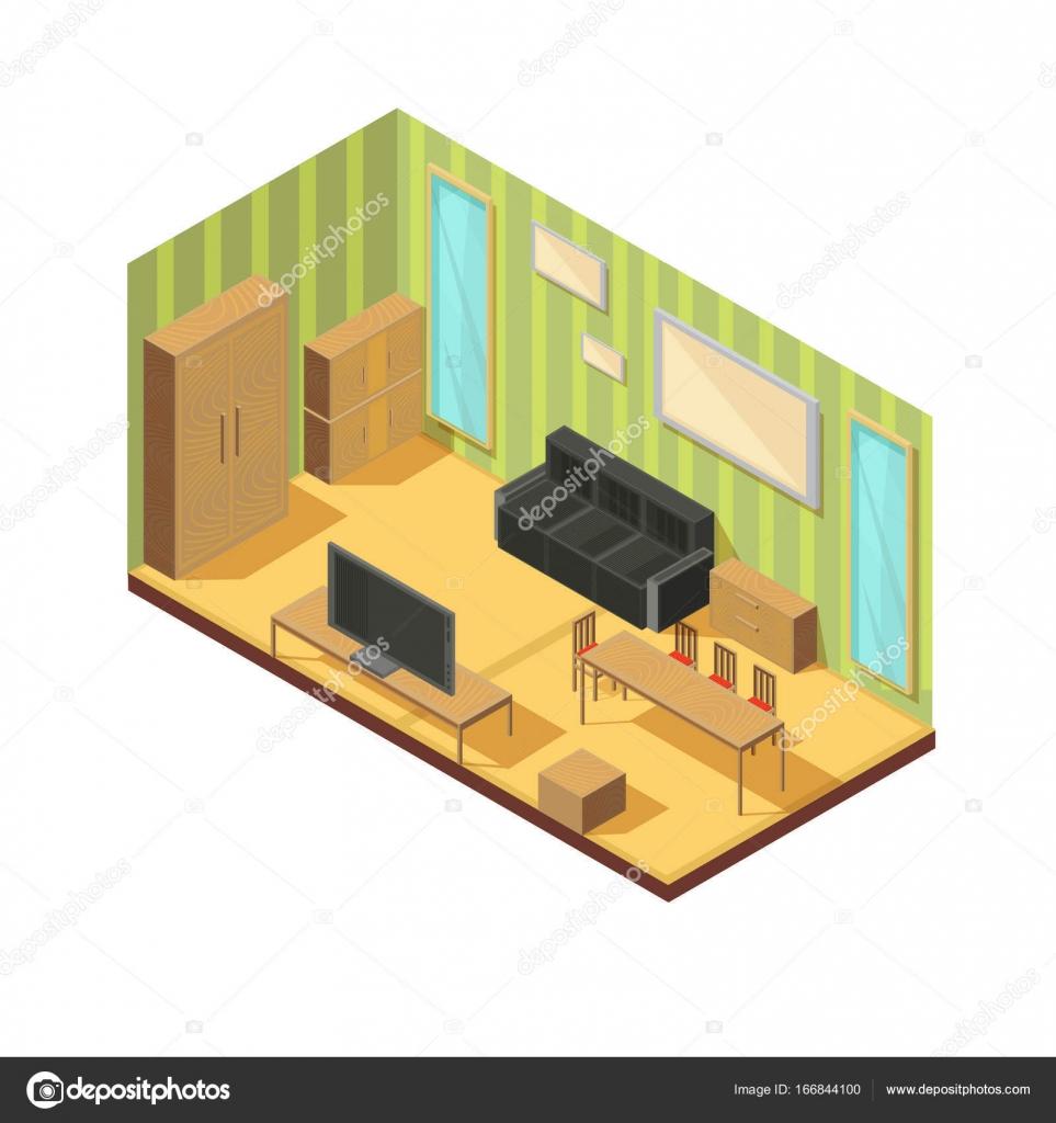 Composición de muebles de cuarto delantero — Vector de stock ...