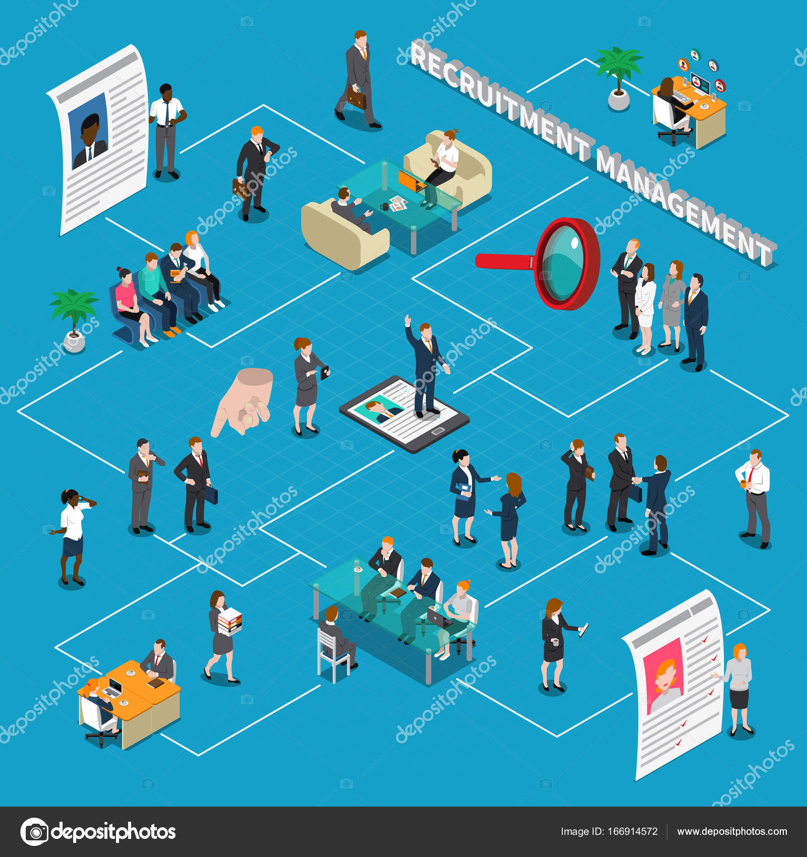 Recruitment hiring hr management isometric people flowchart colored recruitment hiring hr management isometric people flowchart with steps of hiring vector illustration vector by macrovector nvjuhfo Gallery