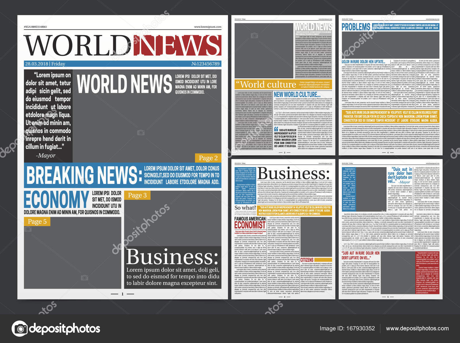 Newspaper Headlines Template Realistic Poster Stock Vector
