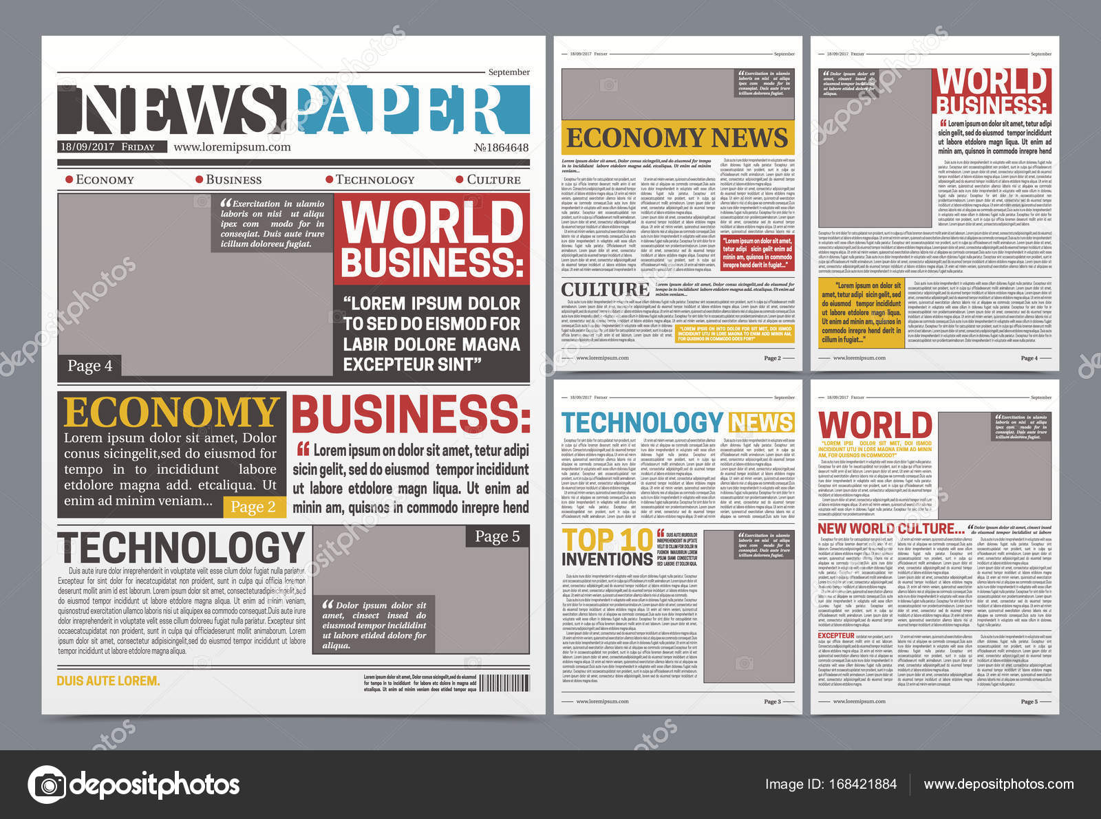 Newspaper Online Template Realistic Poster Stock Vector