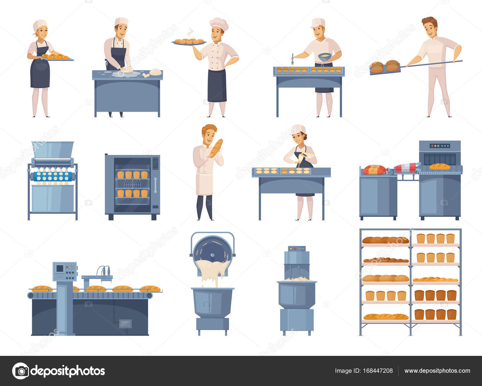 Conjunto De Iconos De Dibujos Animados Panadería
