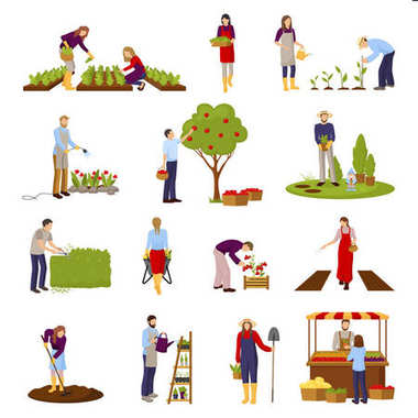 People And Horticulture Set