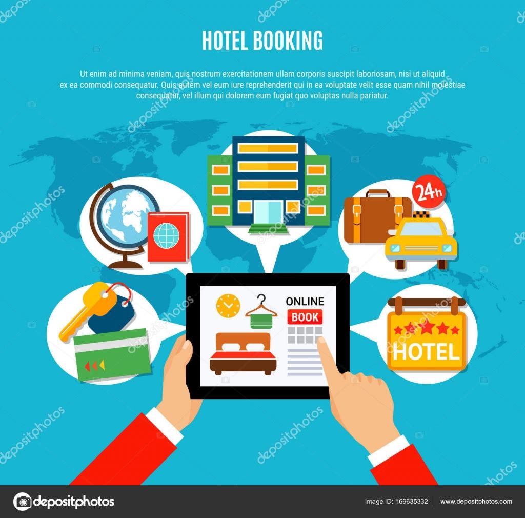 Otel rezervasyonu tasar m konsepti stok vekt r for Hotel booking design
