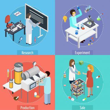 Pharmaceutical Production 4 Isometric Icons