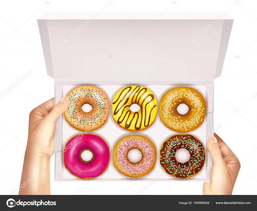 Realistic Donuts In Box In Hands Stock Vector C Macrovector