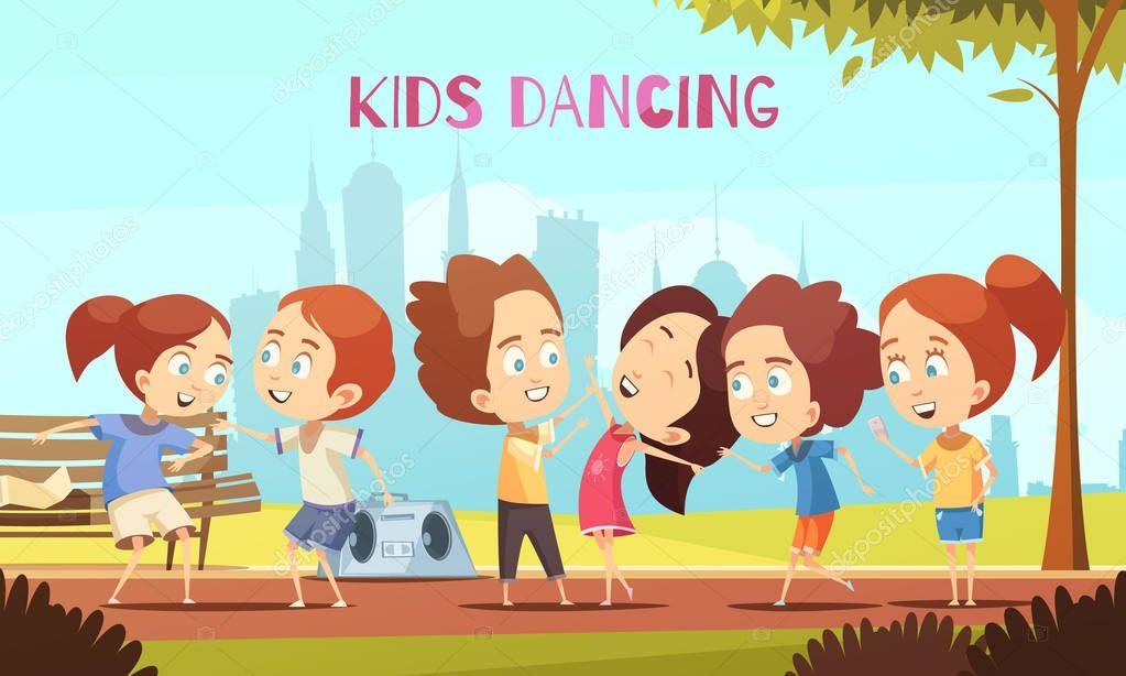 Kids Dancing Vector Illustration