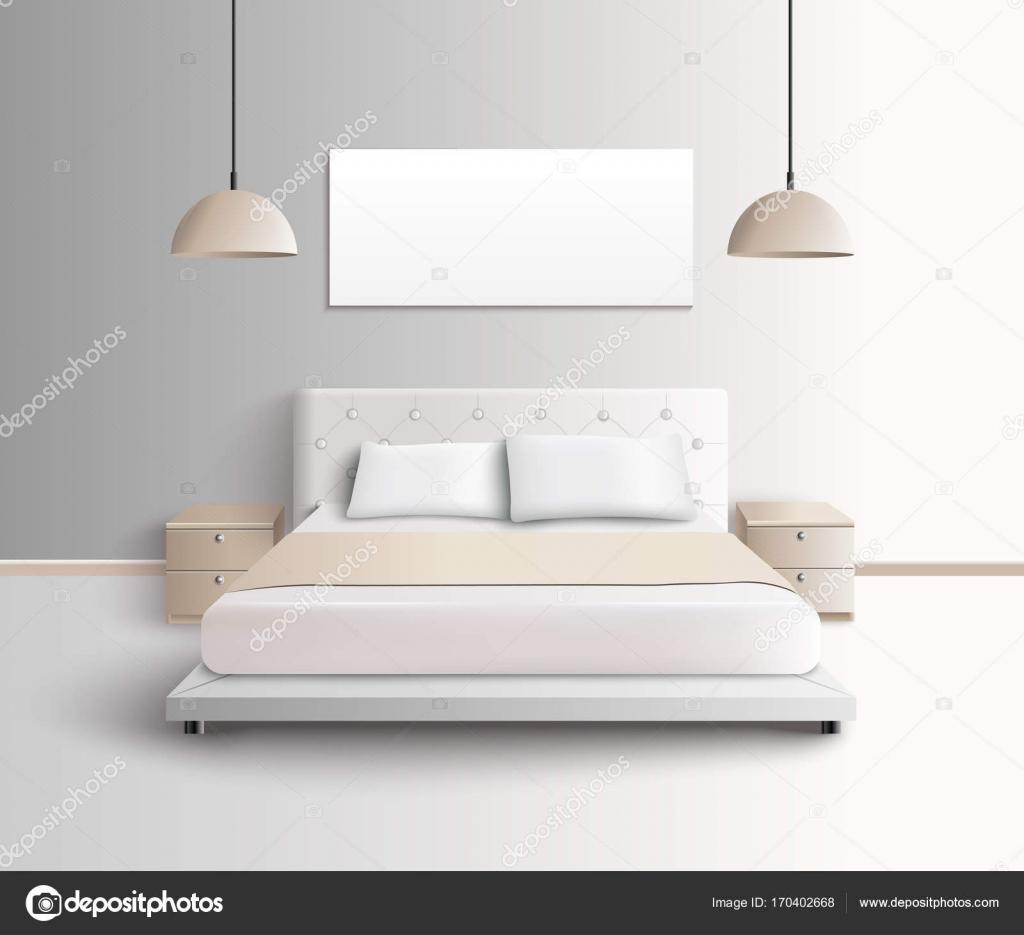 composizione interna camera da letto moderna — Vettoriali Stock ...