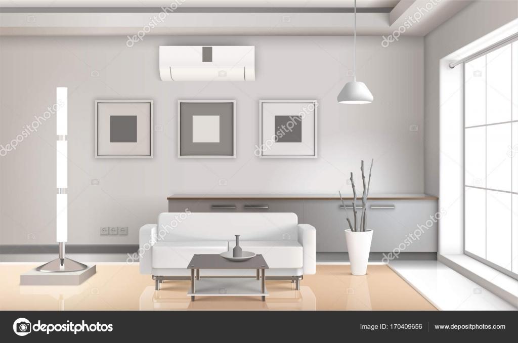 Woonkamer Lichte Kleuren : Realistische woonkamer interieur lichte kleuren u stockvector