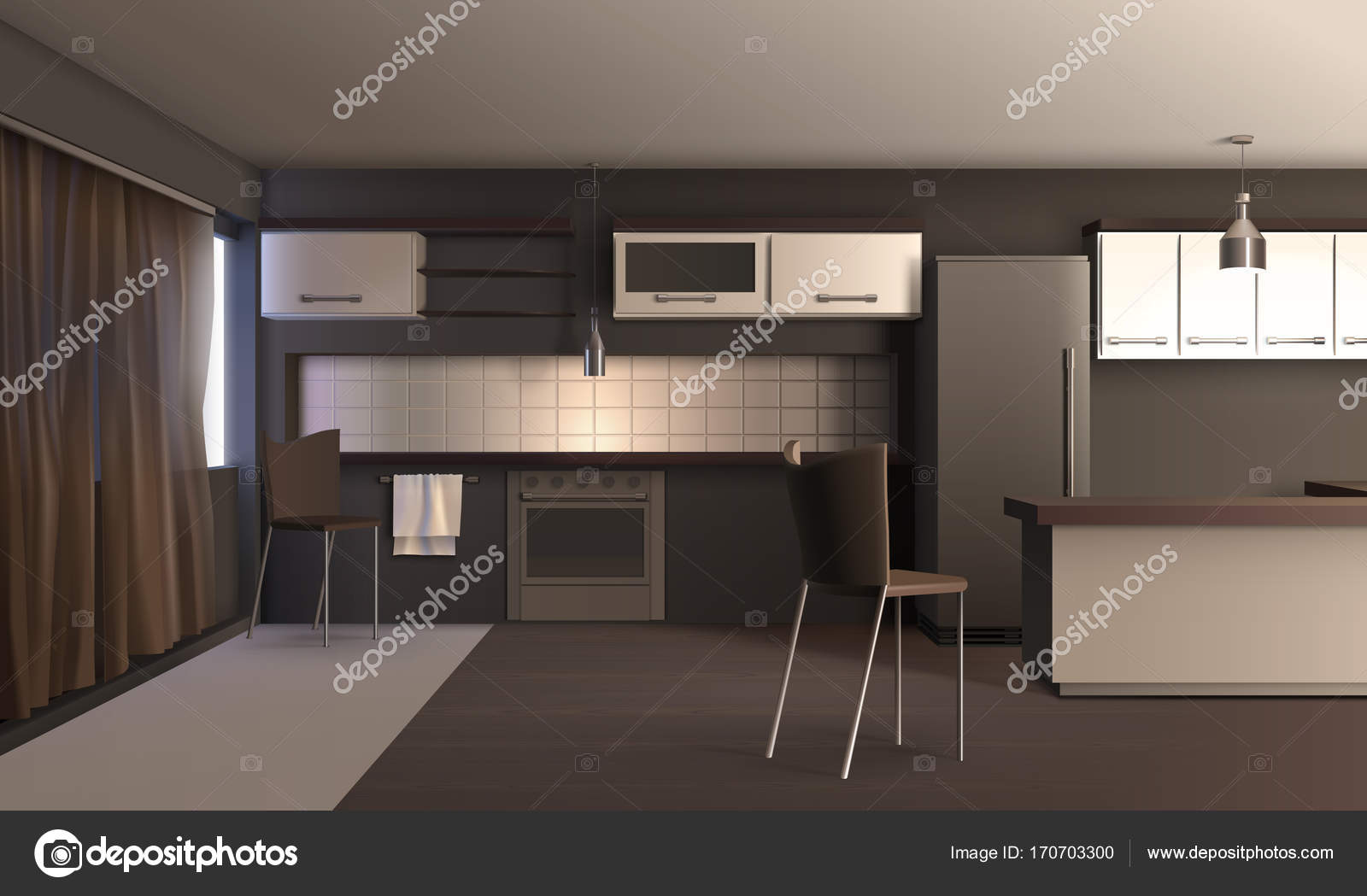 Projeto Da Cozinha De Apartamento Vetor De Stock Macrovector