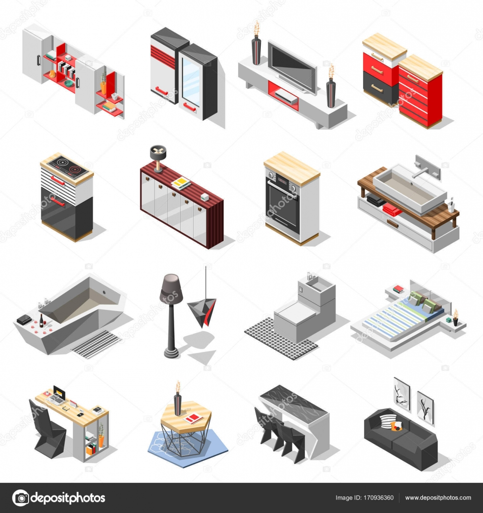 Colecci N De Muebles De Interior Hi Tech Vector De Stock  # Muebles Deinterior