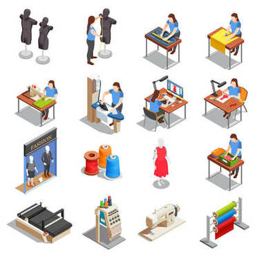 Sewing Factory Isometric Icons Set