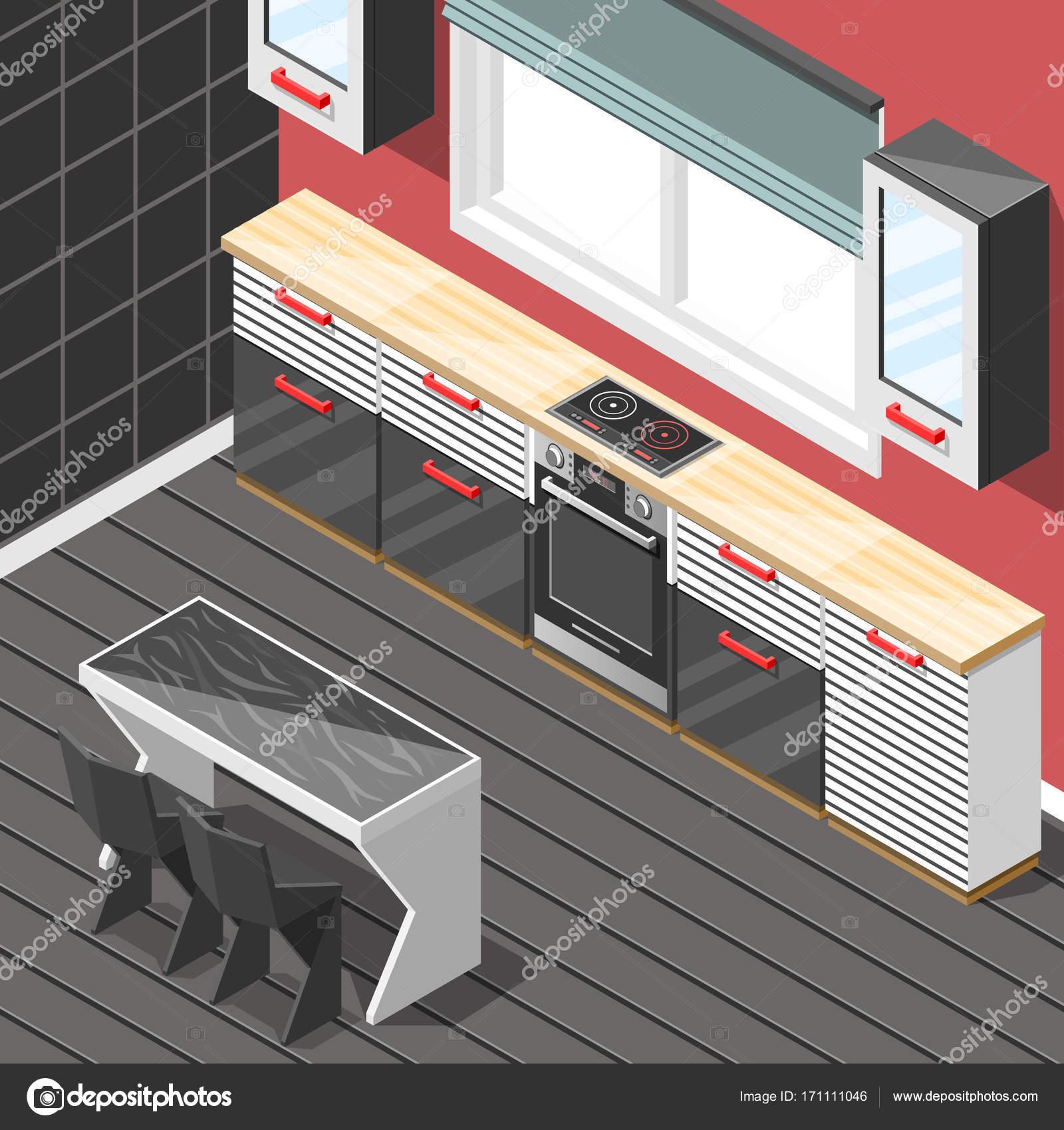 Cocina futurista Interior fondo isométrica — Vector de stock ...