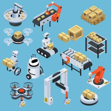 Automatic Logistics Delivery Isometric Icons