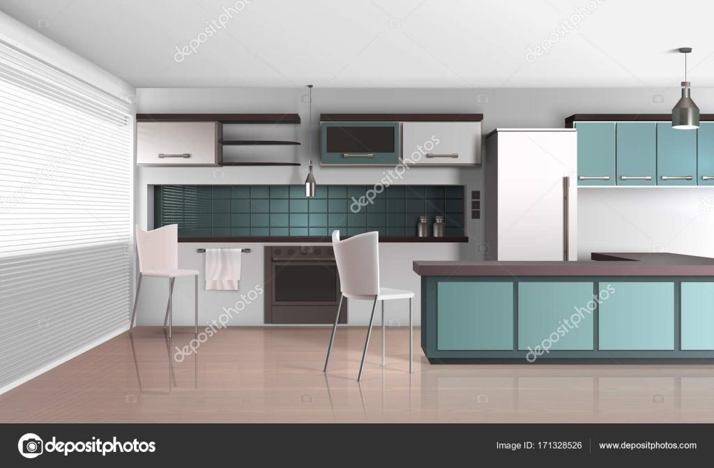 Daglicht Je Keuken : Daglicht keuken interieur samenstelling u2014 stockvector © macrovector