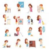 Fotografie Kinder Cartoon Symbole Reinigungsset