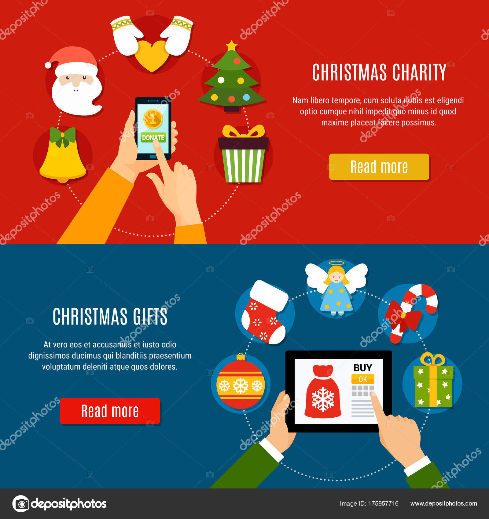 Christmas Charity And Gifts Banners — Stock Vector © macrovector ...