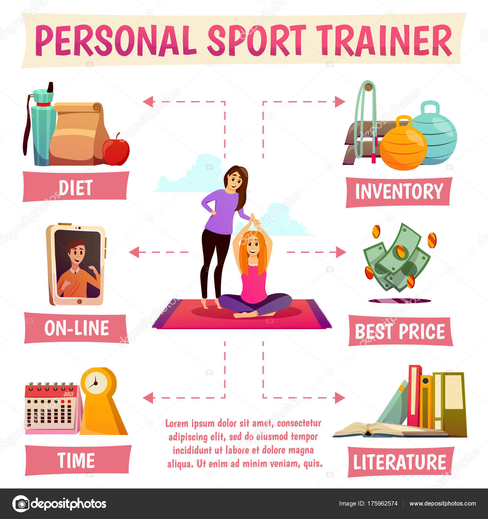 Personal sport trainer flowchart stock vector macrovector personal sport trainer flowchart including yoga with instructor diet online help equipment literature price vector illustration vector by macrovector geenschuldenfo Choice Image