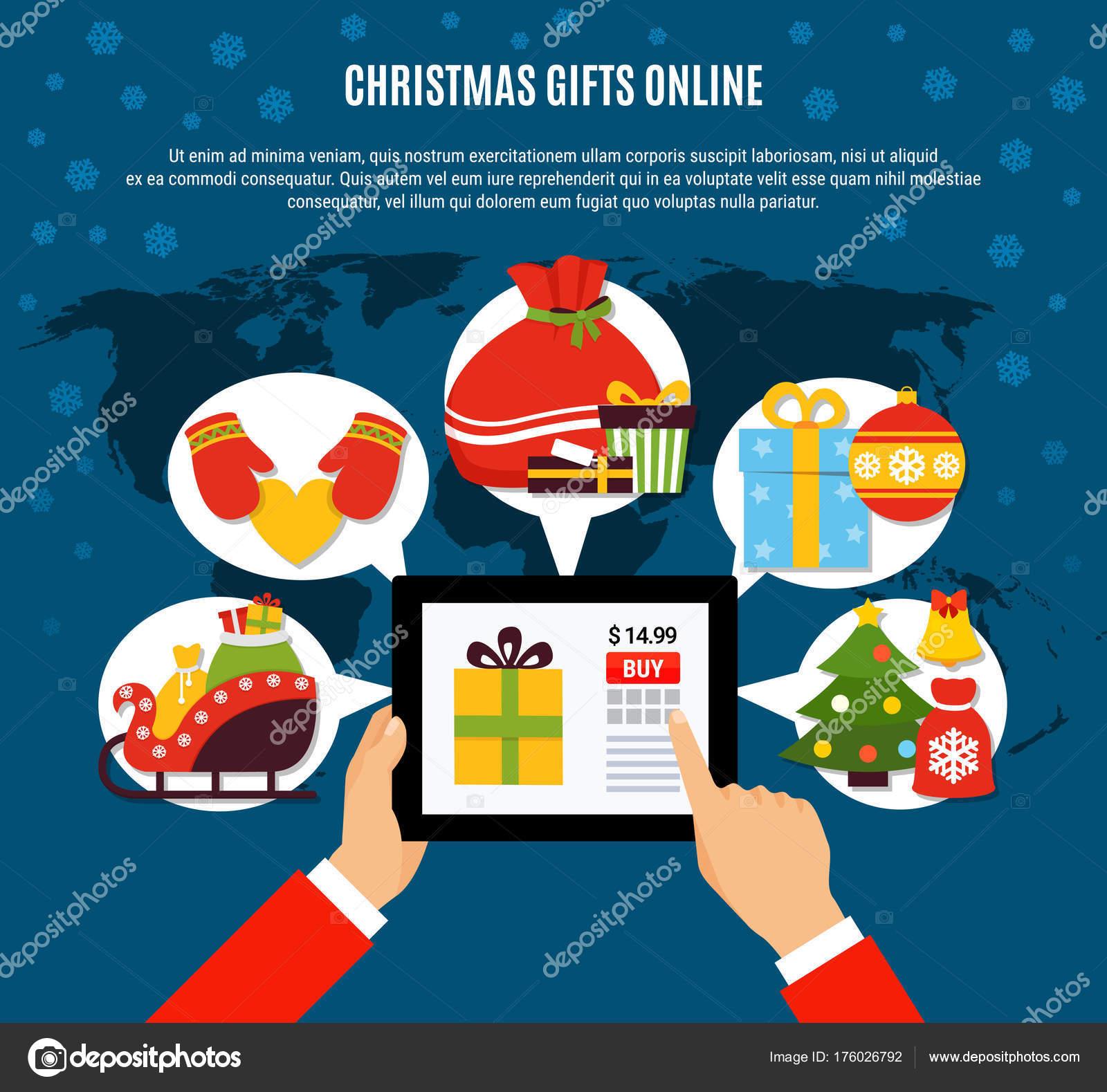 Regali Di Natale Acquisti On Line.Composizione Online Acquisto Di Regali Di Natale Vettoriali Stock