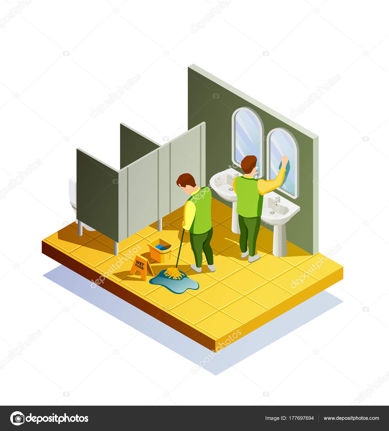 Cleaning Isometric Composition With Public Lavatory Room Interior And Two  Male Cleaners Washing Floor And Mirrors Vector Illustration U2014 Vector By ...