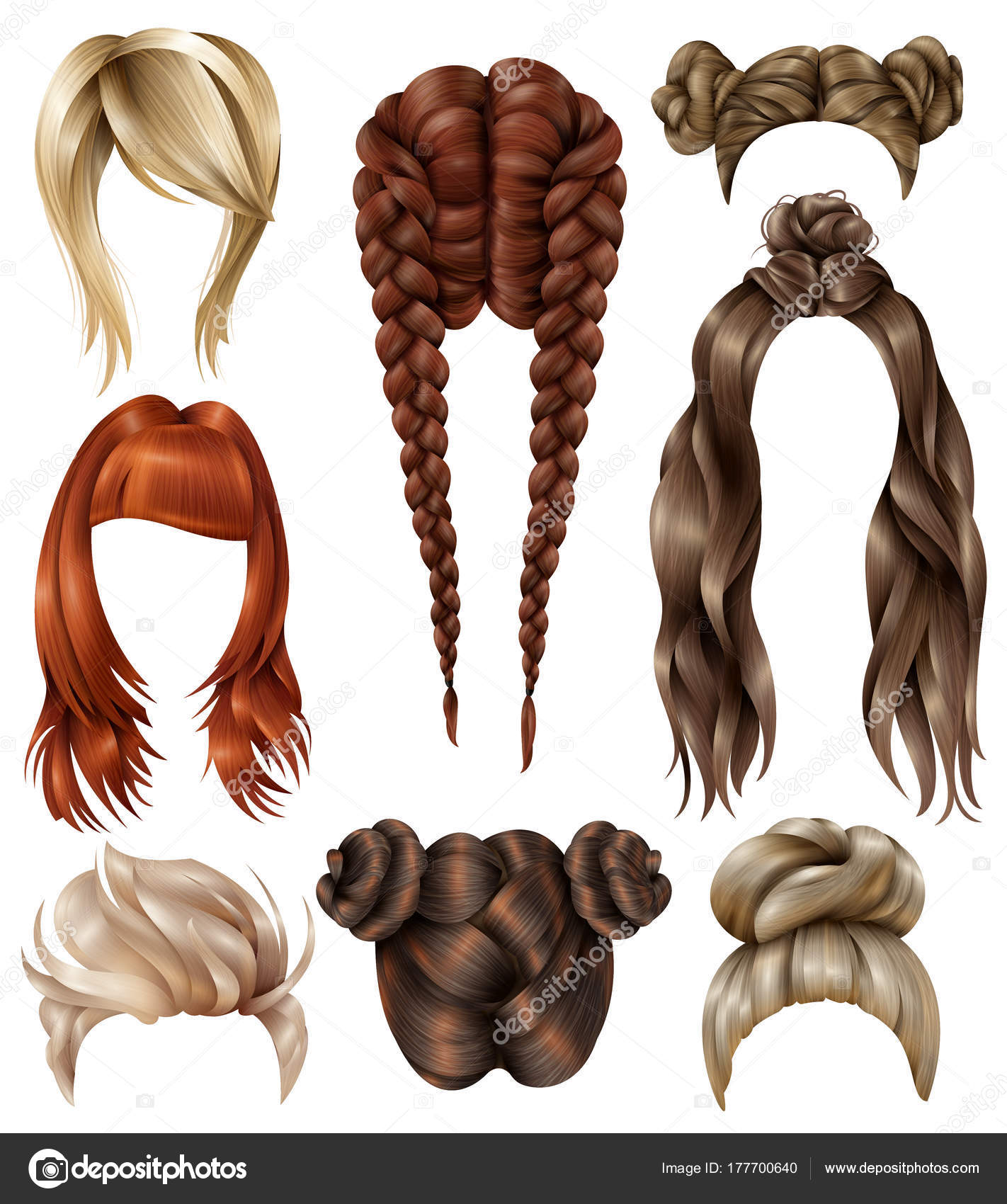 Realistic Female Hairstyles Set Stock Vector Macrovector