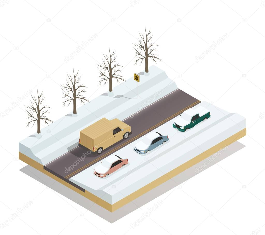 Winter Road Landscape Isometric Composition
