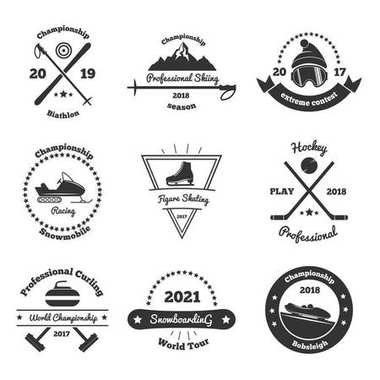 Winter Sports Monochrome Emblems