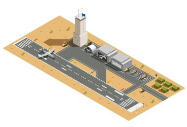 Military Air Base Isometric Composition