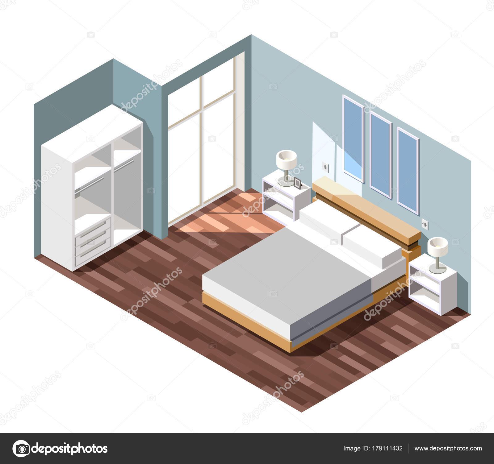 Camera da letto interni isometrica composizione — Vettoriali Stock ...