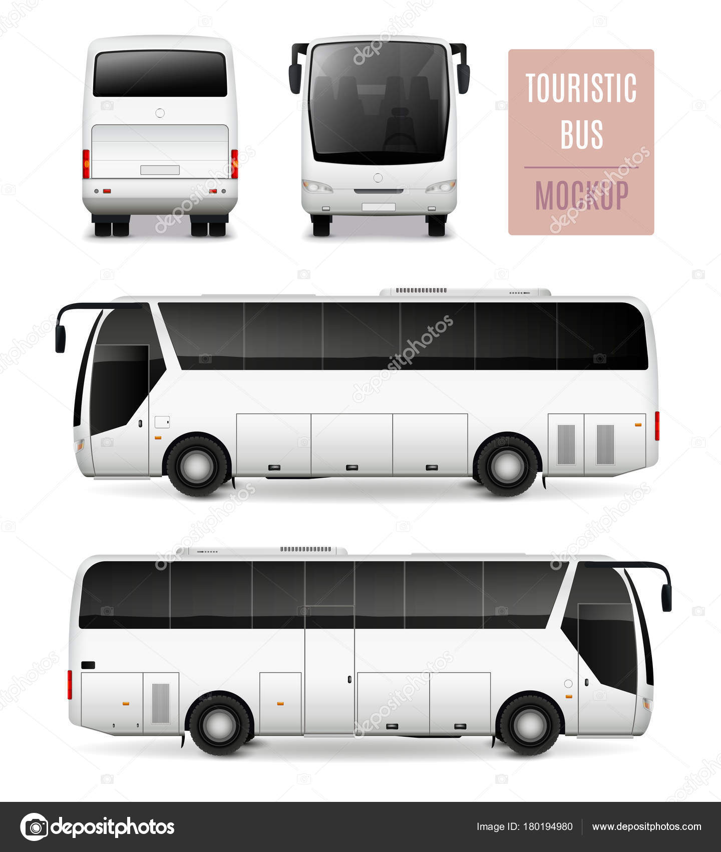 Touristic Bus Realistic Advertising Template Stock Vector