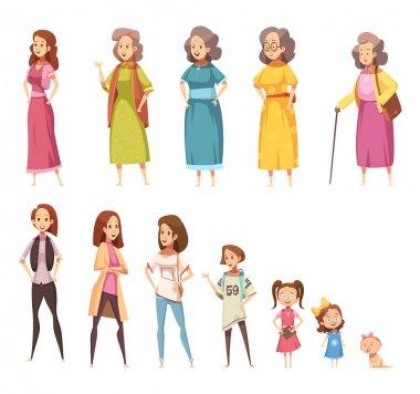 Women Generation Decorative Icons Set