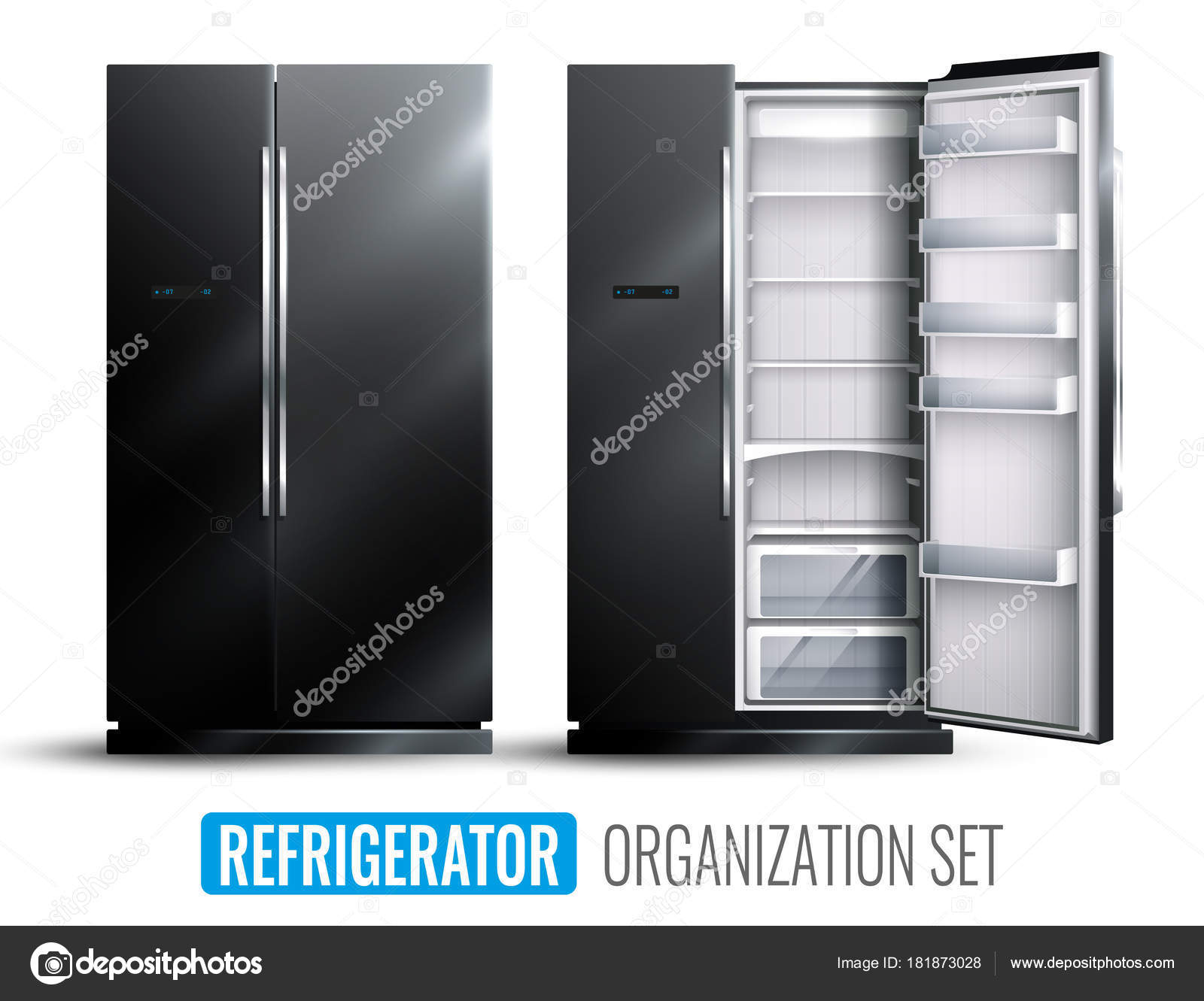 Kühlschrank Quadratisch : Kühlschrank organisation monochrome set u2014 stockvektor © macrovector