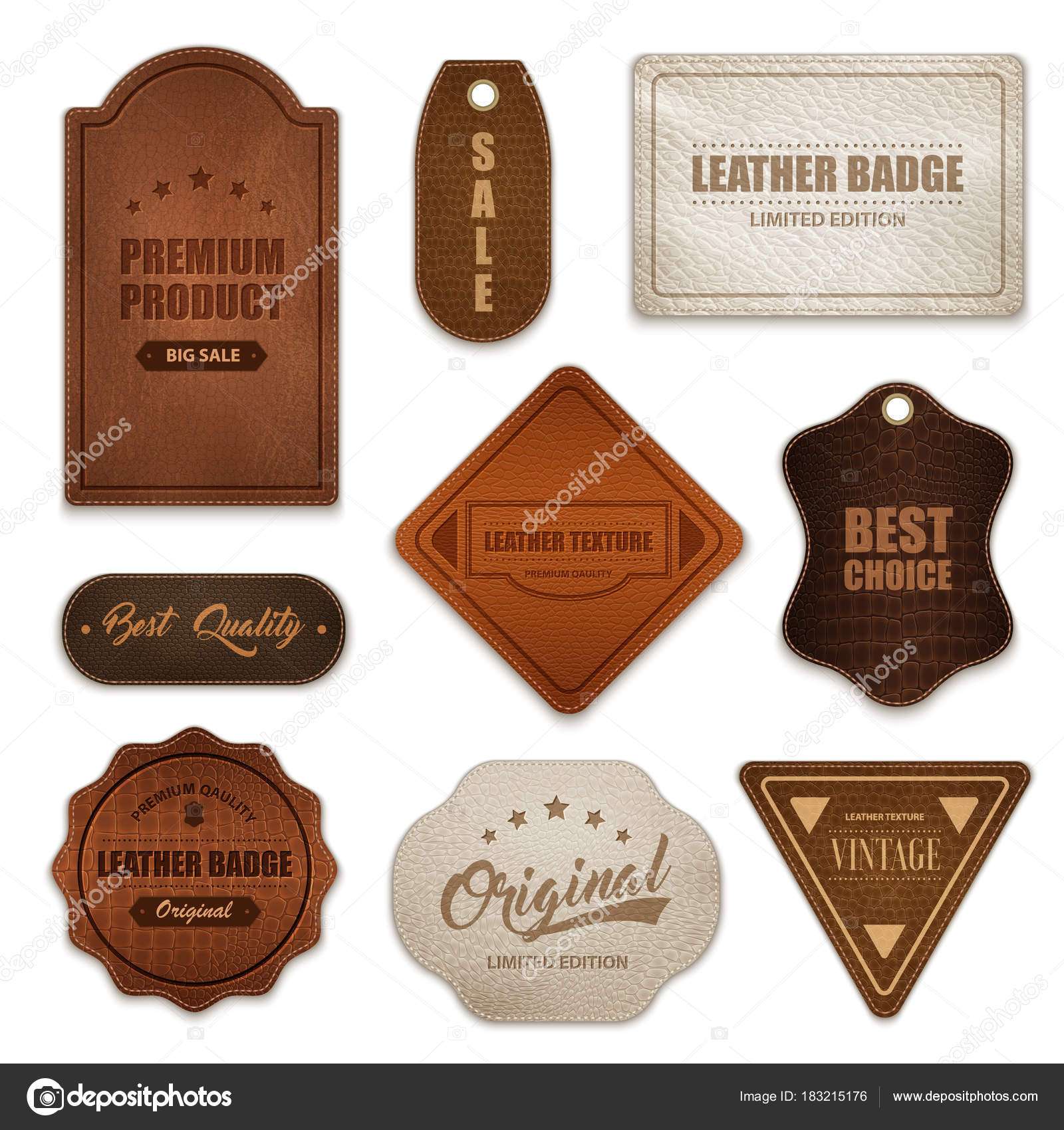 realistic leather badges labels collection stock vector c macrovector 183215176 https depositphotos com 183215176 stock illustration realistic leather badges labels collection html
