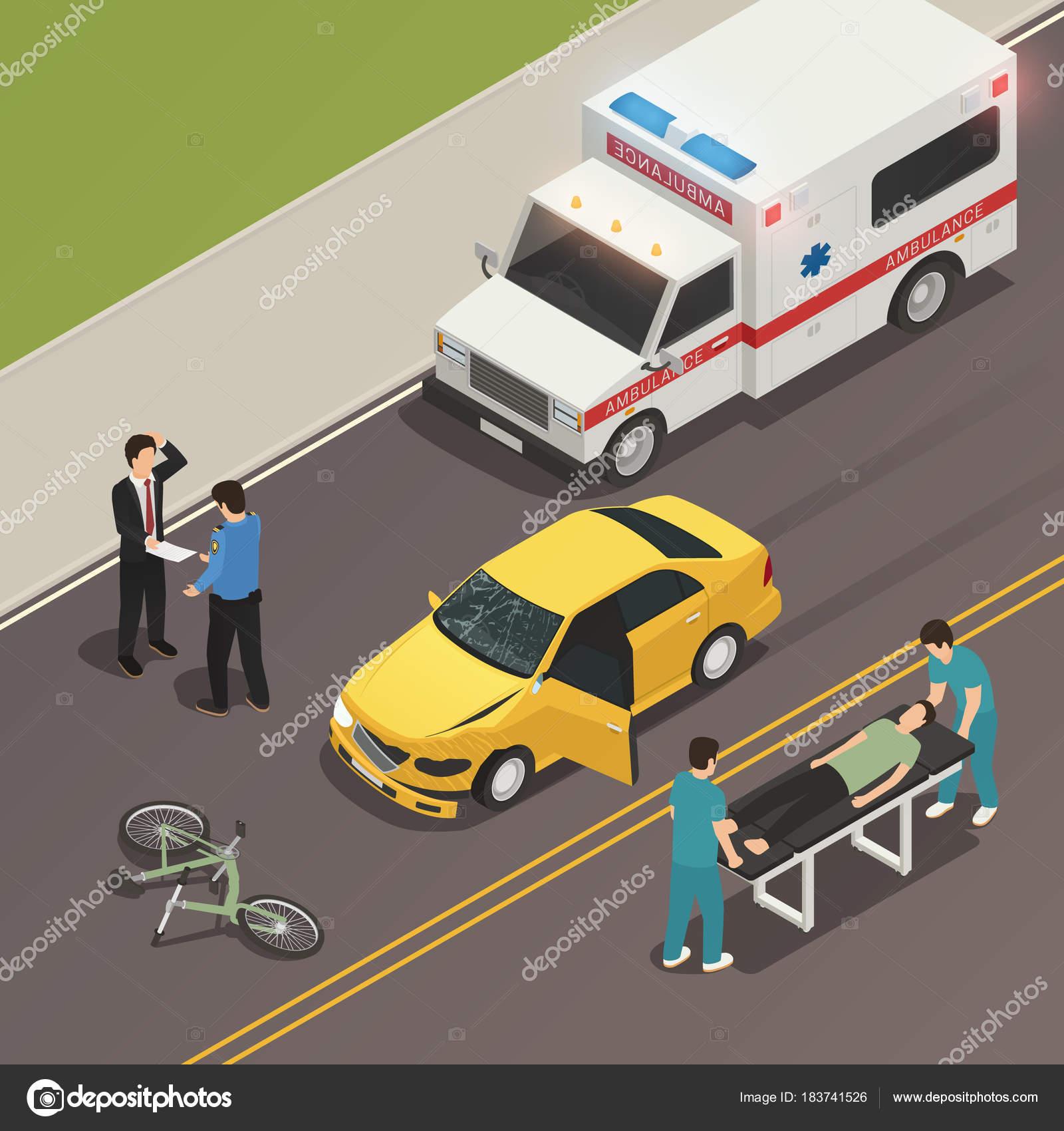 Verkehr Unfall Szene isometrische Zusammensetzung — Stockvektor ...